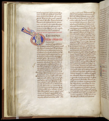 Historiated Initial With An Angel Appearing To Pope Alexander As He Celebrates Mass, In Pseudo-Isidore's 'Papal Decrees'